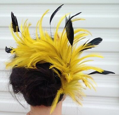 yellow feather comb fascinator millinery bridal wedding hat hair piece race