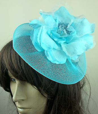 turquoise blue satin flower fascinator millinery burlesque wedding hat bridal