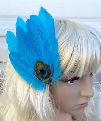 turquoise fascinator millinery peacock feather hair clip wedding piece ascot