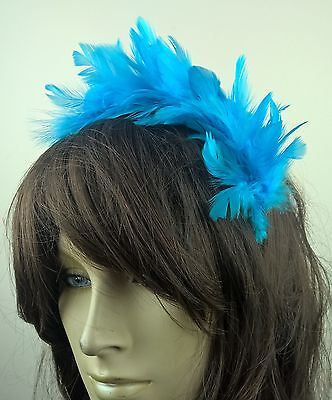 turquoise feather headband fascinator hair band wedding bridal race party ascot