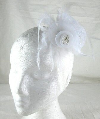 white fascinator millinery feather brooch clip wedding bridal hair piece ascot