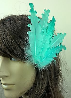 turqouise feather fascinator millinery hair clip wedding piece ascot race dance