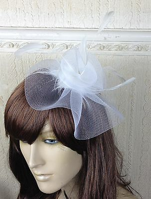 white netting feather hair headband fascinator millinery wedding hat ascot race