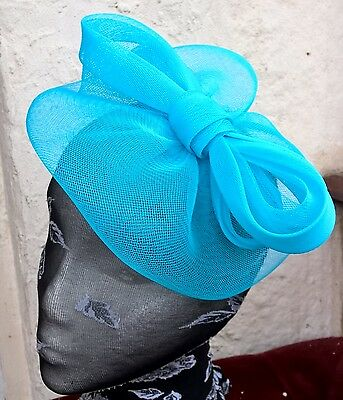 turquoise blue fascinator millinery burlesque wedding hat ascot race bridal