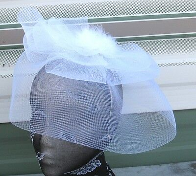 white feather fascinator millinery burlesque headband wedding hat race ascot