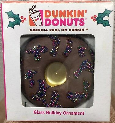 Dunkin Donuts 2007 Kurt Adler Glass Holiday Ornament Chocolate Frosted Sprinkles