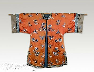 Antique Silk Chinese Robe Jacket With Flowers And Butterflies