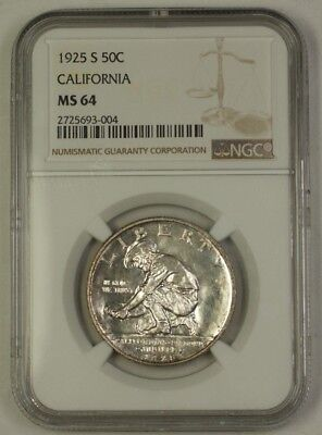 1925-S California Commemorative Silver Half Dollar 50c NGC MS-64 Lightly Toned