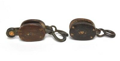 Vintage Industral Small Wood Pulley Block And Tackle Pair Set Of 2