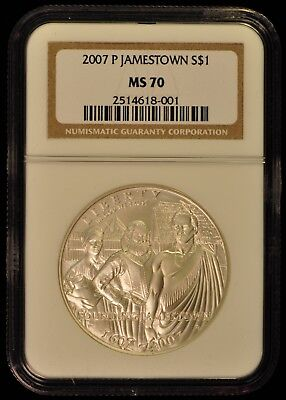2007-P Jamestown Silver Dollar. MS70. ITEM Z20