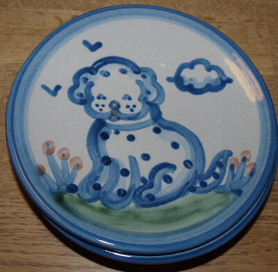 """M A Hadley Pottery - Country Scene Blue - Bread Plate 6"""" - Puppy Dog"""