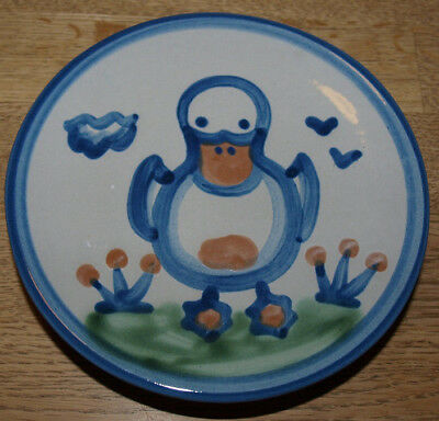 "M A Hadley Pottery - Country Scene Blue - Bread Plate 6"" - Duck"