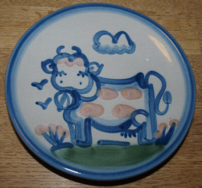 """M A Hadley Pottery - Country Scene Blue - Bread Plate 6"""" - Cow"""