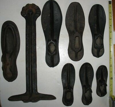 lot of 7 Vintage Antique Cobbler Shoemaker Cast Iron Shoe Lasts Forms & Stand