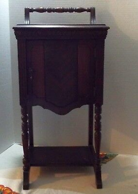 Vintage Tobaccoo Smoking Table Stand w/Copper Lined Humidor