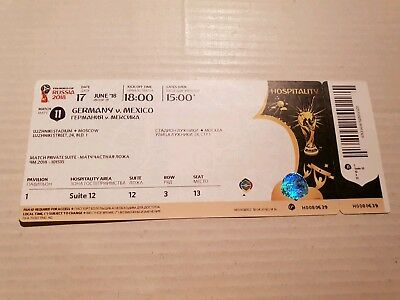Used VIP Ticket FIFA World Cup 18 #11 Germany Mexico Deutschland Mexiko DFB