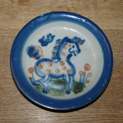"""M A Hadley Pottery - Country Scene Blue - Coaster - 4 1/4"""" - Horse"""