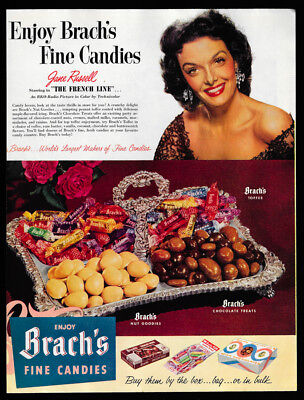 1953 Vintage Print Ad 50's BRACH'S fine candies jane russell french line