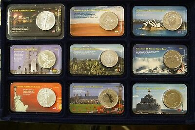 World Europe Americas Asia Africa Silver 1 Oz. Set/ Collection 9oz. Uncirculated
