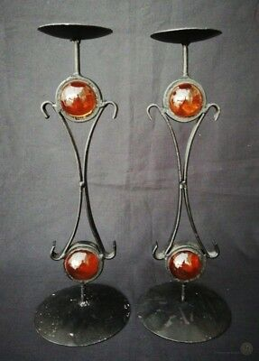 Vintage Candlesticks Wrought Metal And Amber Glass Globe | FREE Delivery UK*
