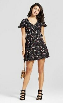 359003ce7e16 New Xhilaration Women s Black Ruffle Floral Short Sleeve Dress Juniors Sz  Small