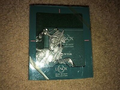 1- New 1997 Lenox Our First Christmas Pewter Dual Swan Ornament