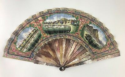 Historical Chinese Mid 19Th C.century Macao Harbour Views Black Mop Fan