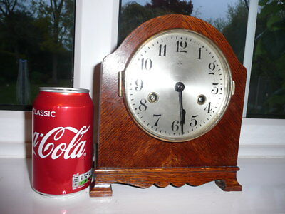 Working German H.a.c. Striking Mantel Clock, Very Tidy.