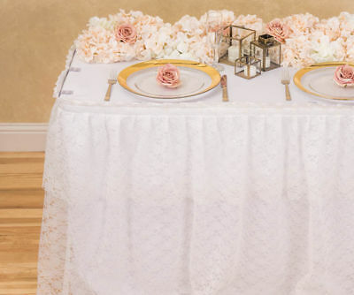 White Polyester Lace Table Skirt for Weddings, Parties & Tradeshows, 3 sizes!