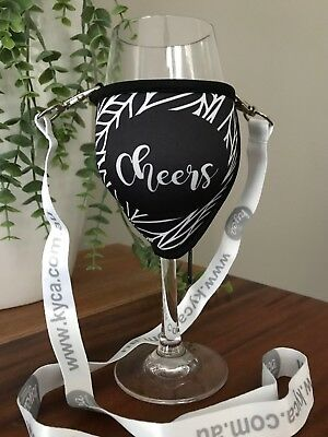 Cheers Geo Wine Glass Cooler With Lanyard And Polycarb Glass Xmas Birthday Gift