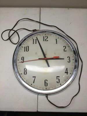 """VINTAGE 14"""" WESTCLOX ELECTRIC SCHOOL WORK WALL CLOCK S11-B For Parts"""