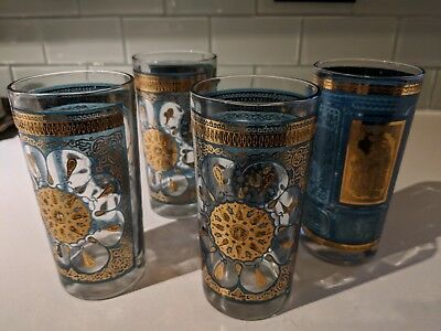 Set of 4 1960's Vintage madmen style gold & Turquoise 22K Gold tall Glasses
