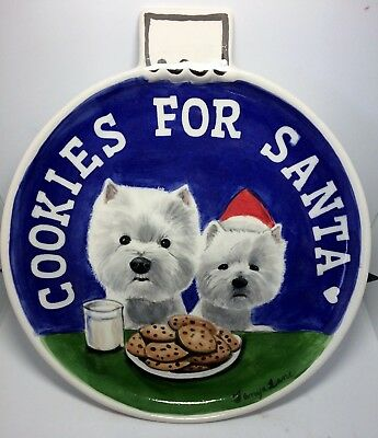 Christmas cookies for Santa dish westie original OOAK sculpture art painting
