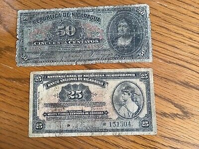 Lot of 2 Nicaragua 1938 25 Cent. & 1910 50 Cent.