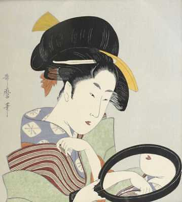Kitagawa Utamaro (Japanese 1753-1806) Woodblock Print Reflection in a Mirror