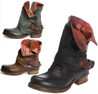 Womens Casual Buckle Mid Calf Biker Slouch Ankle Boots Low Chunky Heel Shoe Size