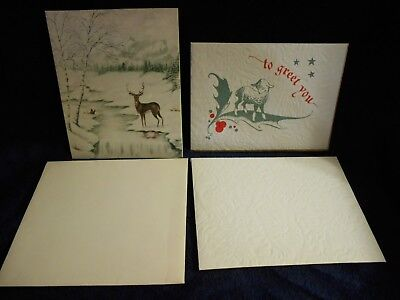 Pair of Vintage 1940s Personalized Christmas Greeting Cards Deer Sheep