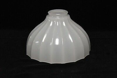 Vintage Fluted Milk Glass Torchiere Lamp Light Shade Thick Glass #2
