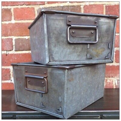 Large Vintage Industrial Reclaimed Storage Bins Boxes