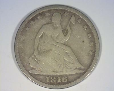 1846-O Med Date with Drapery SEATED LIBERTY SILVER HALF-DOLLAR GOOD ~364238-CHy