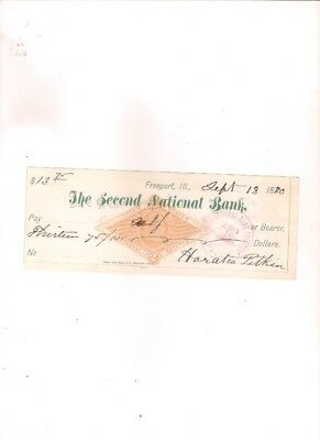 1880 Second National Bank of FREEPORT,ILLINOIS bank check
