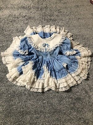 Dolls & Darlings Vintage Pageant Dress Size 2t Blue With White Lace Trim