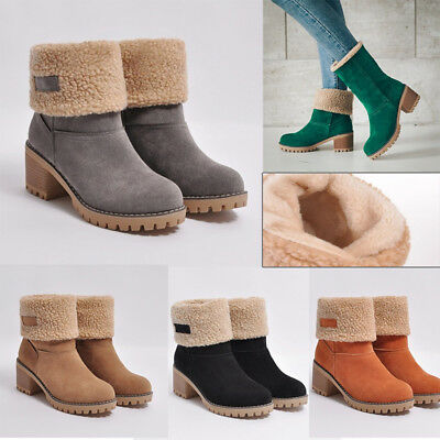 Women Warm Fluffy Lined Snow Boots Mid Heels Ankle Boots Suede Winter Shoes Size