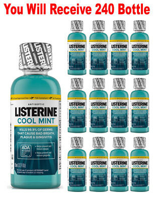 (240-Pack) Listerine Mouthwash Cool Mint Antiseptic Bad Breath Wholesale Lot 3.2