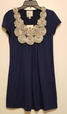 a5a7aab47b2cb NWT Pink Rose Size Small S Navy Blue Floral 3D Neckline Short Sleeve Top  Tunic