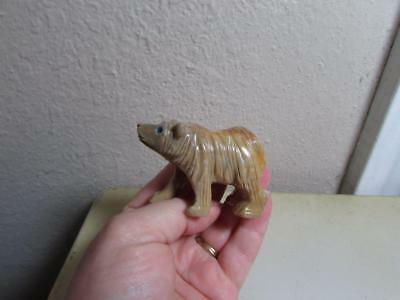 Brown Bear, Hand carved Marble from the Andes of Peru, Multi Hued stone Bear
