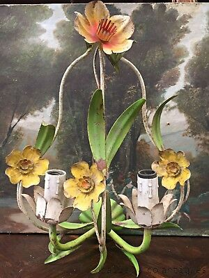 French Vintage Wall Sconce Chandelier Metal Tole Floral Appliqué - FF167