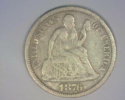 1876-CC Type 1 Reverse Seated Liberty Dime Very Fine  ~250017-OEy