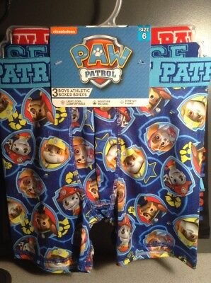BOYS 3 PAIR Paw Patrol ATHLETIC BOXER BRIEFS SIZE 8 Moisture Wicking Chase