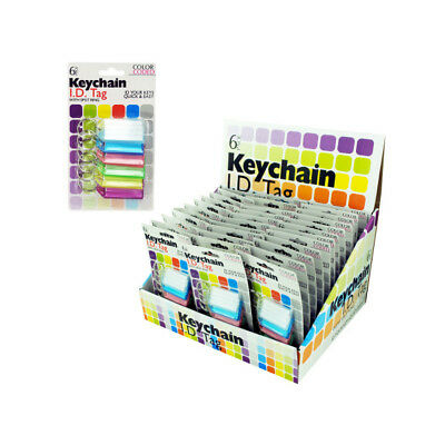 Set of 36 Bulk Lot Color Coded Key Chain ID Tags Countertop Display
